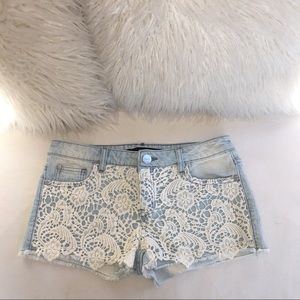 Denim Shorts with Lace Overlay
